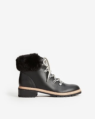 Express Womens Faux Fur Hiker Boots