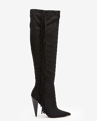 Express Womens Fringe Knee High Boots