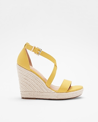 Express Womens Crisscross Espadrille Wedge Sandals