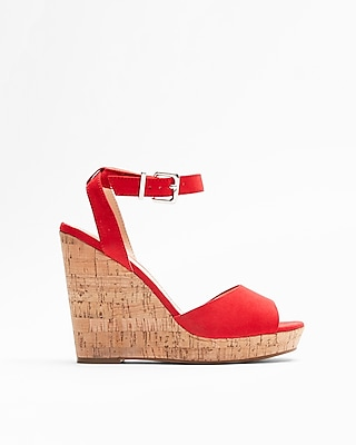 Express Womens Red Cork Wedge Sandals