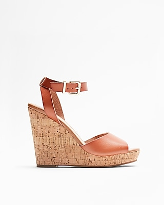 Express Womens Cork Wedge Sandals