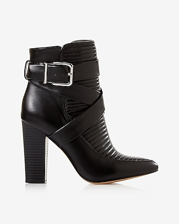 black quilted heeled bootie