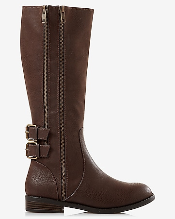 brown distressed riding boot