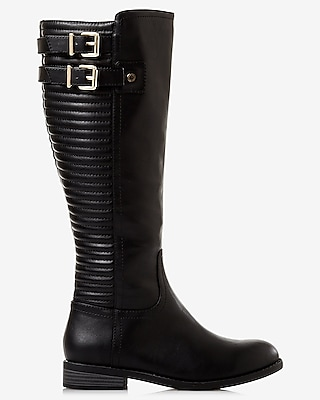 Express Womens Black Quilted Riding Boot