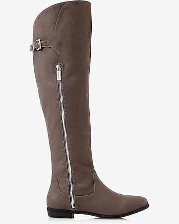 gray over the knee zip boot