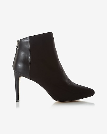 faux suede pointed toe heeled bootie