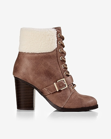 sherpa collar lace-up bootie