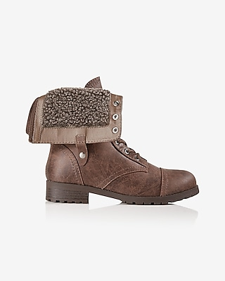 Express Womens Sherpa Lined Lace-Up Lug Sole Boot