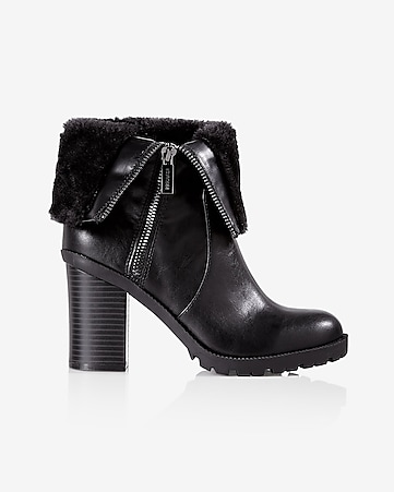 black side zip faux fur lined heeled boot