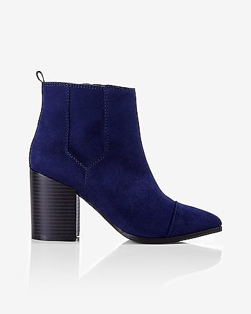 navy faux suede thick heeled bootie