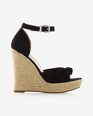 Express Womens Knotted Espadrille Wedge Sandals