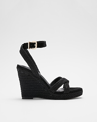 Express Womens Braided Espadrille Wedge Sandals