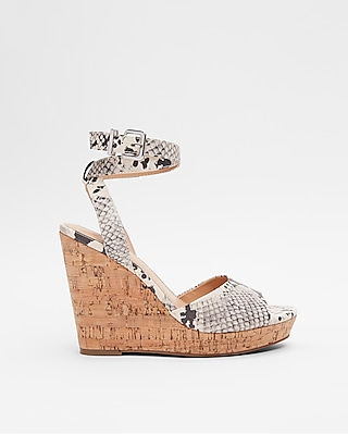 Express Womens Snake Print Cork Wedge Sandals