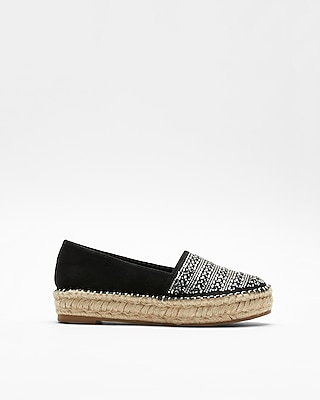 Express Womens Embellished Espadrille Slip-On Shoes Black Women's 8 Black 8