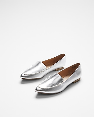Express Womens Pointed Toe Loafers Silver Women's 8 Silver 8