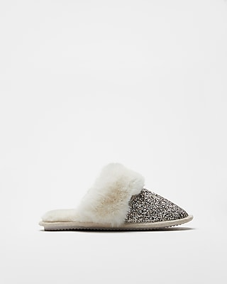 Express Womens Glitter Faux Fur Slipper