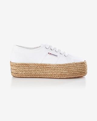 Express Womens Superga Espadrille Platform Sneaker White 6