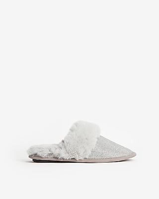 Express Womens Sparkly Faux Fur Slippers Silver Women's L Silver L