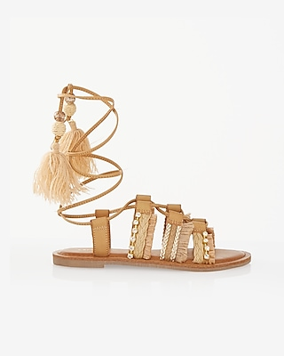 Express Womens Straw Tassel Lace-Up Sandal