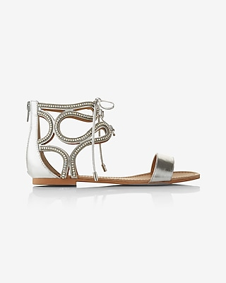 Express Womens Metallic Twirl Gladiator Sandals