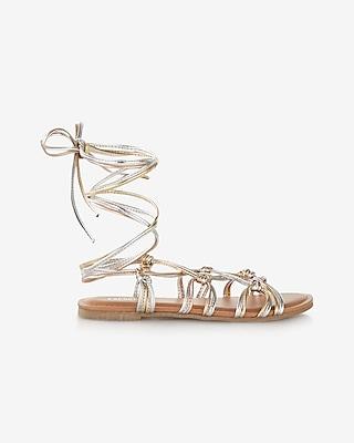 Express Womens Metallic Knot Lace-Up Sandal