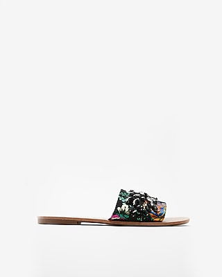 Express Womens Brocade Jewel Embellished Slide Sandals