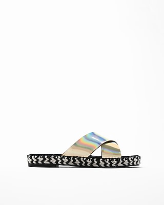 Express Womens Metallic Crisscross Espadrille Sandals