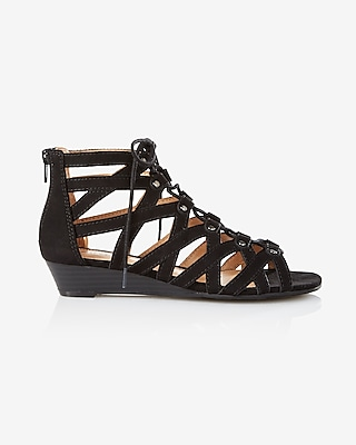 Express Womens Studded Lace-Up Sandal