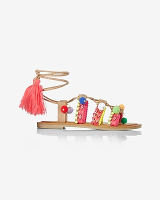 Express Womens Charm Pom Lace-Up Sandal