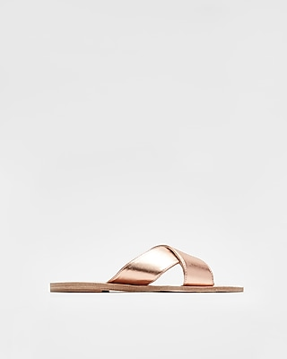 Express Womens Metallic Crisscross Sandals