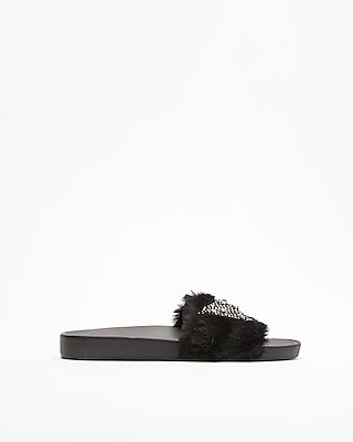 Express Womens Embellished Faux Fur Slides