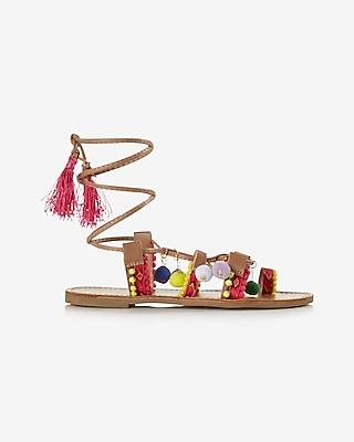 Express Womens Bejeweled Pom-Embellished Lace-Up Sandal