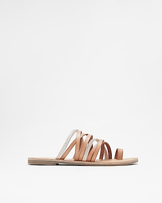 Express Womens Strappy Stone Toe Loop Sandals