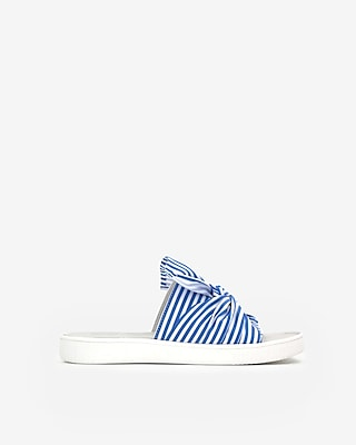 Express Womens Jane And The Shoe Striped Jessica Sandals Blue Women's 6 Blue 6