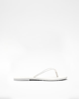 Express Womens Simple Flip Flops White Women's 6 White 6