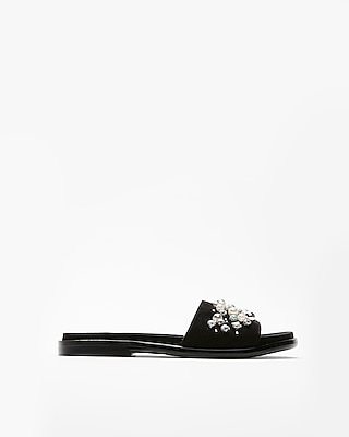 Express Womens Pearl Stone Slide Sandals