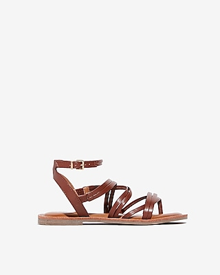 Express Womens Strappy Open Toe Sandals Brown Women's 6 Brown 6