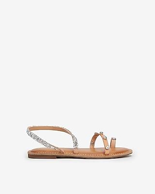 Express Womens Asymmetrical Embellished Toe Ring Sandals