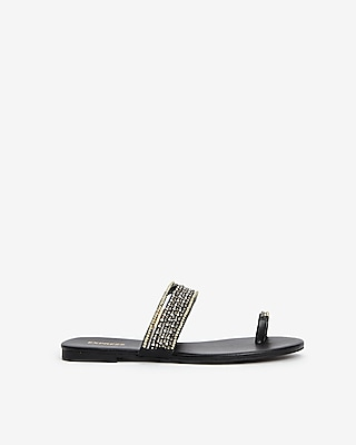 Express Womens Beaded Toe Ring Sandals