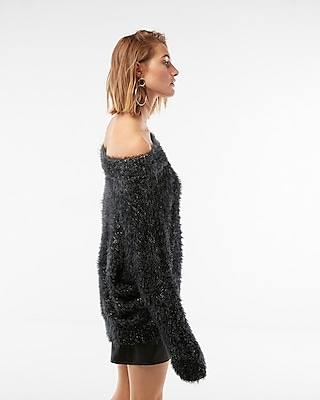 Express Womens Marled Off The Shoulder Feather Wedge Sweater