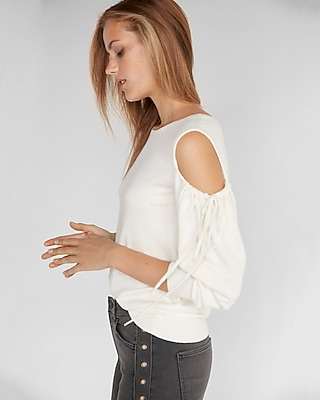 Express Womens Cut Out Shoulder Tie Sleeve Sweater