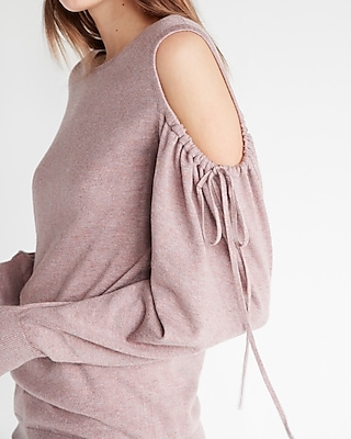 Express Womens Marled Cut-Out Shoulder Tie Sleeve Sweater
