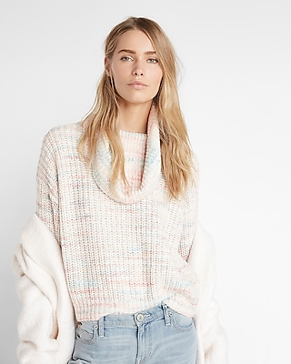 Express Womens Space Dyed Cowl Neck Shaker Knit Sweater