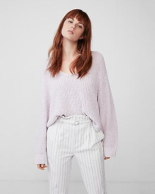 Express Womens Oversized Shaker V-Neck Sweater