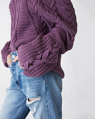Express Womens Cowl Neck Cable Knit Sweater Purple XX Small