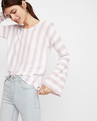 Express Womens Striped Scoop Back Flare Sleeve Sweater