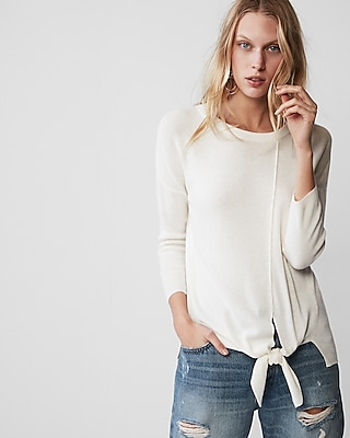 Express Womens Tie Front Crew Neck Sweater