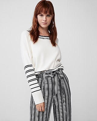 Express Womens Placed Stripe Crew Neck Sweater