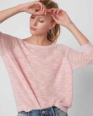 Express Womens Mix Stitch Hi-Lo Sweater Pink XX Small 14175299