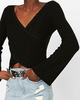 Express Womens Surplice Bell Sleeve Pullover Sweater